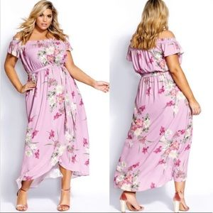 NWT City Chic Pink Floral Maxi Dress | Size 22